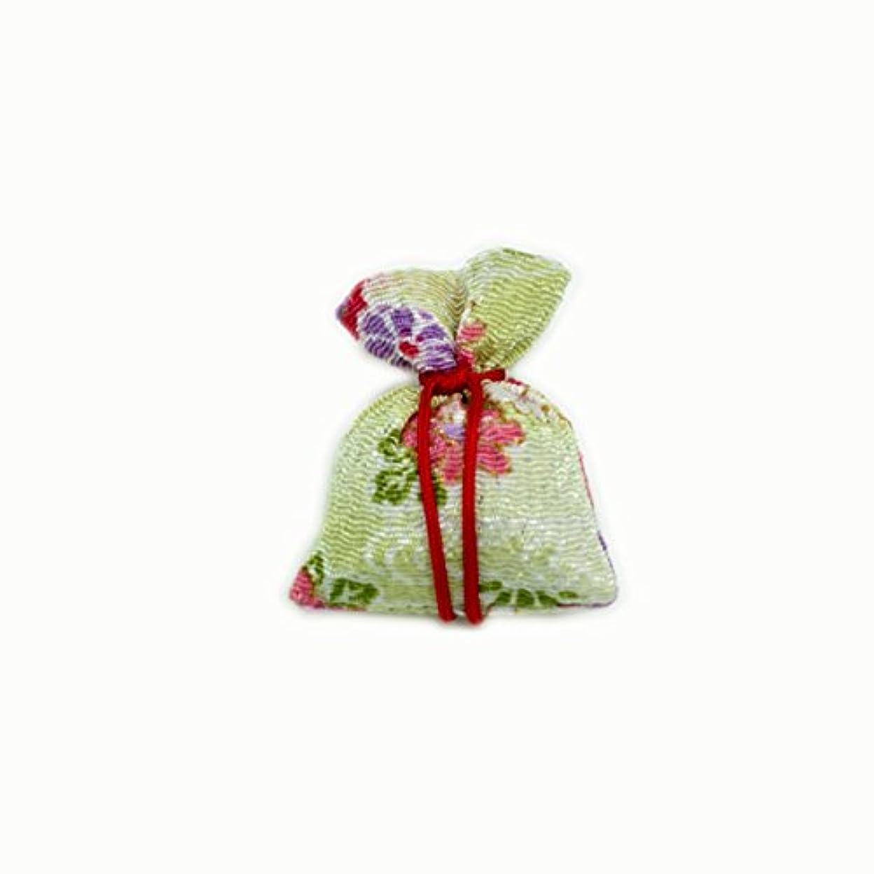 毛布遊び場同情的匂袋 巾着 友禅小 緑系