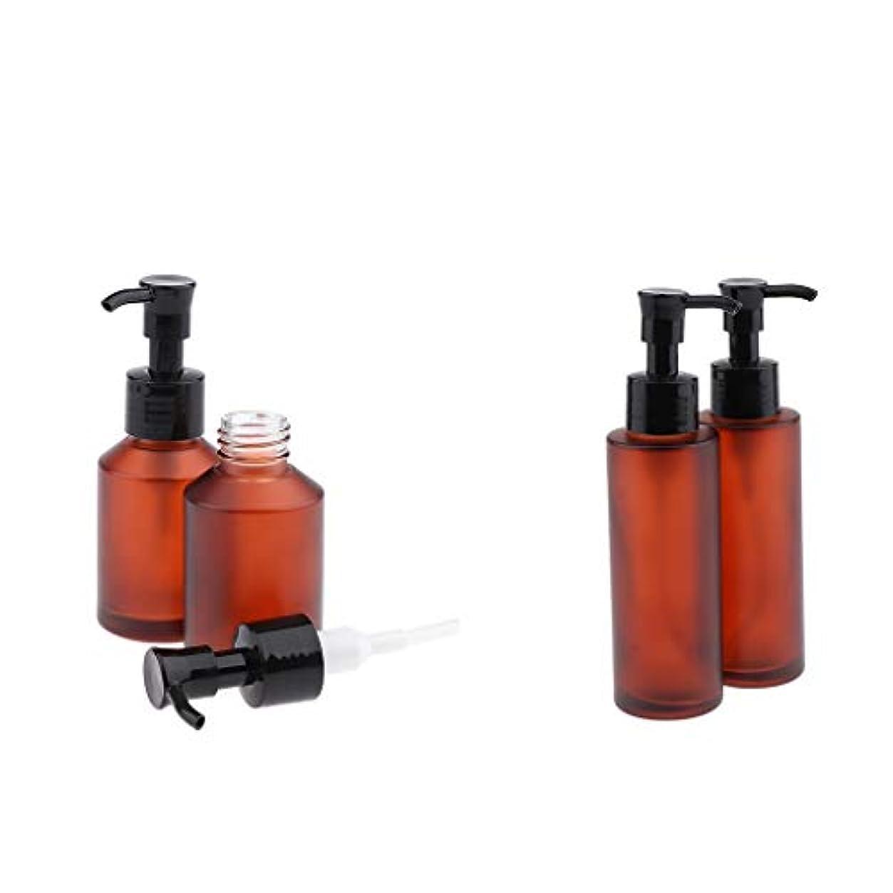 正規化一見ミキサー4個 空 ガラス ポンプボトル 詰め替え式 化粧品ボトル ローションボトル 100/60ミリリットル