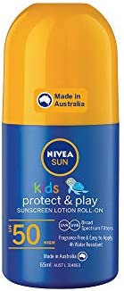 NIVEA SUN Kids Moisturising 4 Hour Water Resistant & Fragrance–Free Roll On Sunscreen Lotion. Made in Aust
