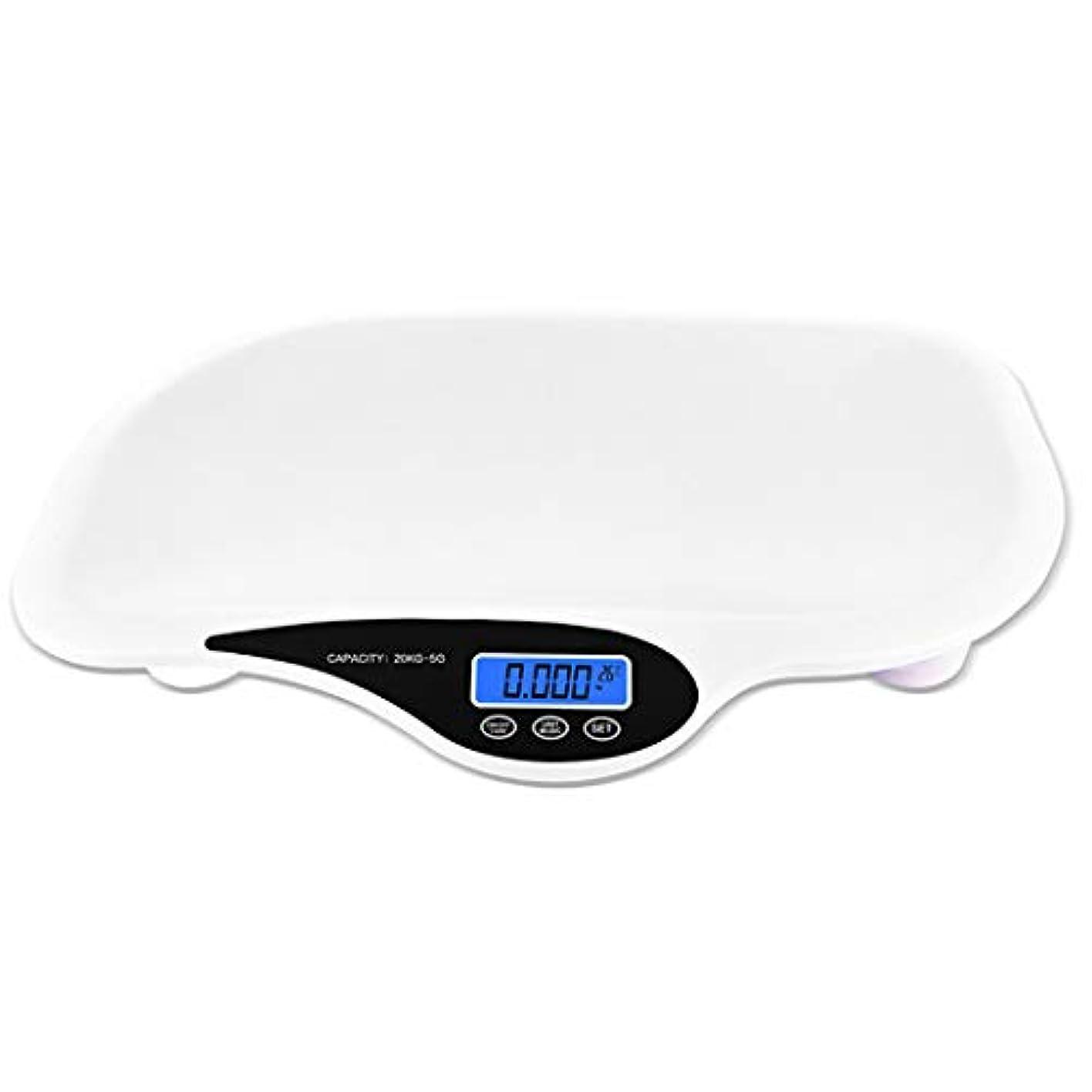責める鍔遠足HSBAIS デジタル電子ベビースケール、多機能新生児体重計、最大容量20 kg / 44ポンド精密5 g,white