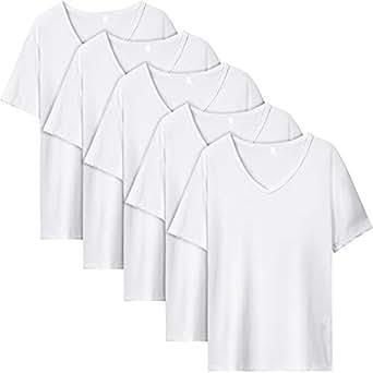 EASY-MODE-T インナーシャツ メンズ 肌着 5枚組 半袖 Vネック 防菌防臭 白 クセになる肌触り (L(170㎝-180㎝))