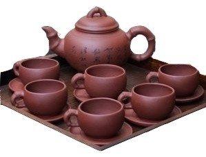 宜興焼 紅竹茶器セット
