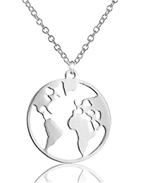 Minimalism World Map Necklace Round World Continents Pendant for Long Distance Travel Birthday Gift