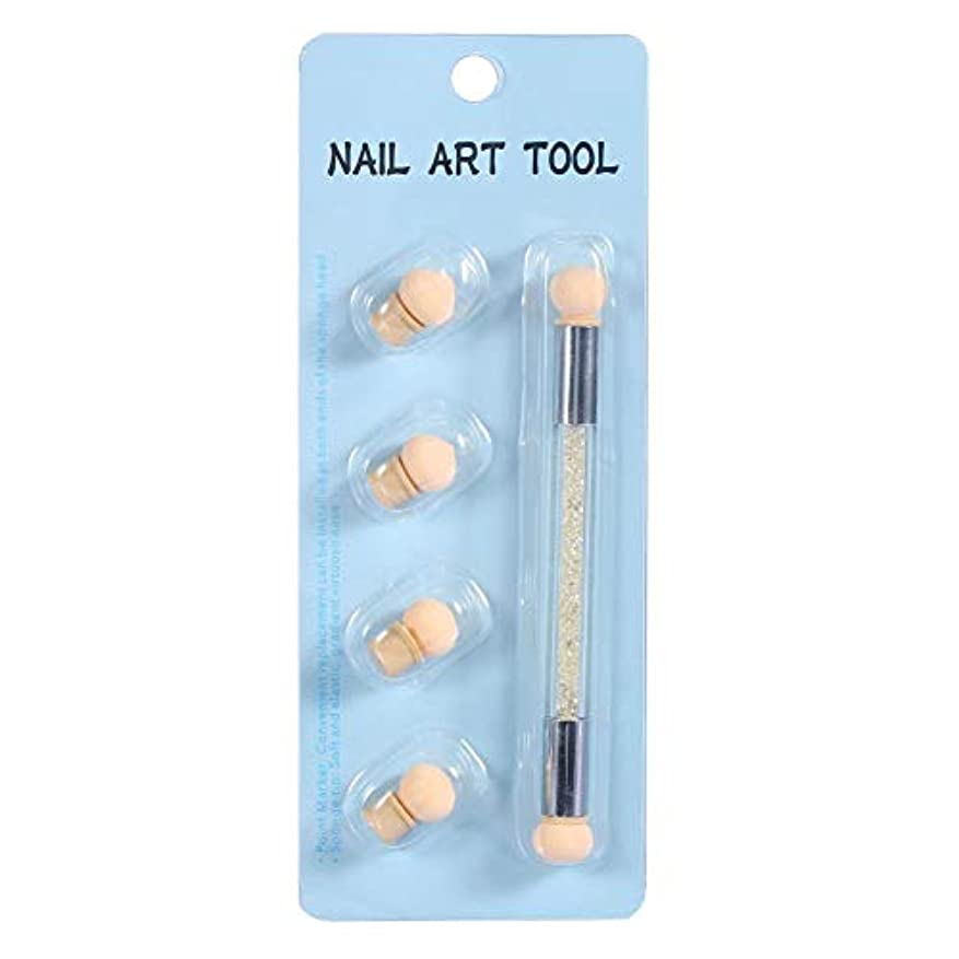 実験的寛大さファイナンスネイルアート 4個 交換用 スポンジヘッド ネイルアートスポンジブラシ ネイル筆 ドットペン