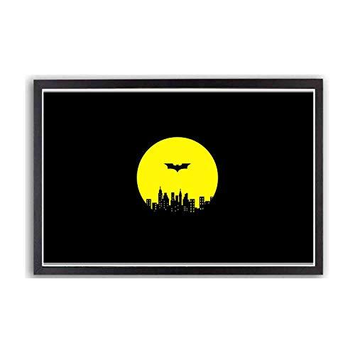 バットマン ゴッサム ・ シティ 泊 - 部屋の装飾、アートハンギングポスターフレーム - 最高の贈り物黒12 x 10インチ