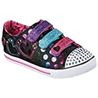 Skechers Girls' Twinkle Toes Chit Chat Street Beat Sneaker,Black/Multi,US 2 M