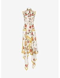 (アレキサンダー マックイーン) ALEXANDER MCQUEEN women`s SLEEVELESS SCARF PRINT DRESS控えめなスカートプリントドレス(並行輸入品)