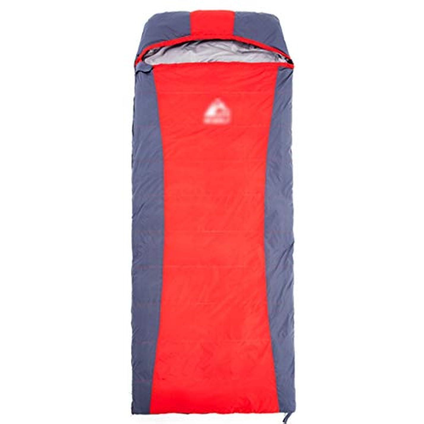 織機同化リーフレットキャンプ用寝袋キャンプ寝袋大人の寝袋屋外の秋と冬の屋内ポータブル寝袋大人の厚いスーパーライトアヒルの汚れた暖かいキャンプの寝袋 (Color : RED, Size : 210*80CM)