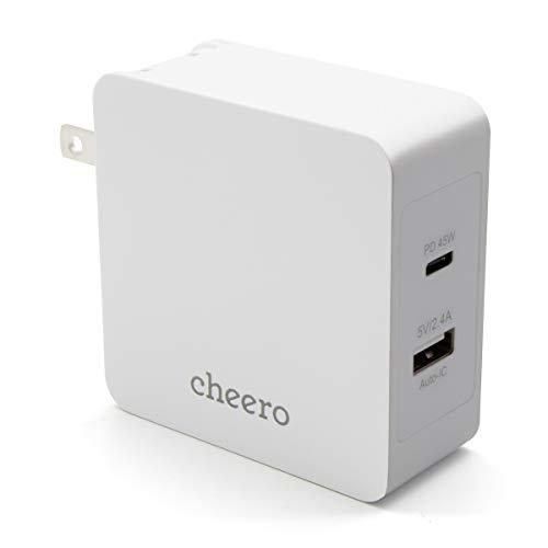 cheero 2 port PD Charger USB-C PD 45W + USB-A 合計 57W (パワーデリバリー対応 充電器 小型アダプタ) 対応機種へ超高速充電 AUTO-IC搭載 折り畳み式プラグ 2ポート CHE-328