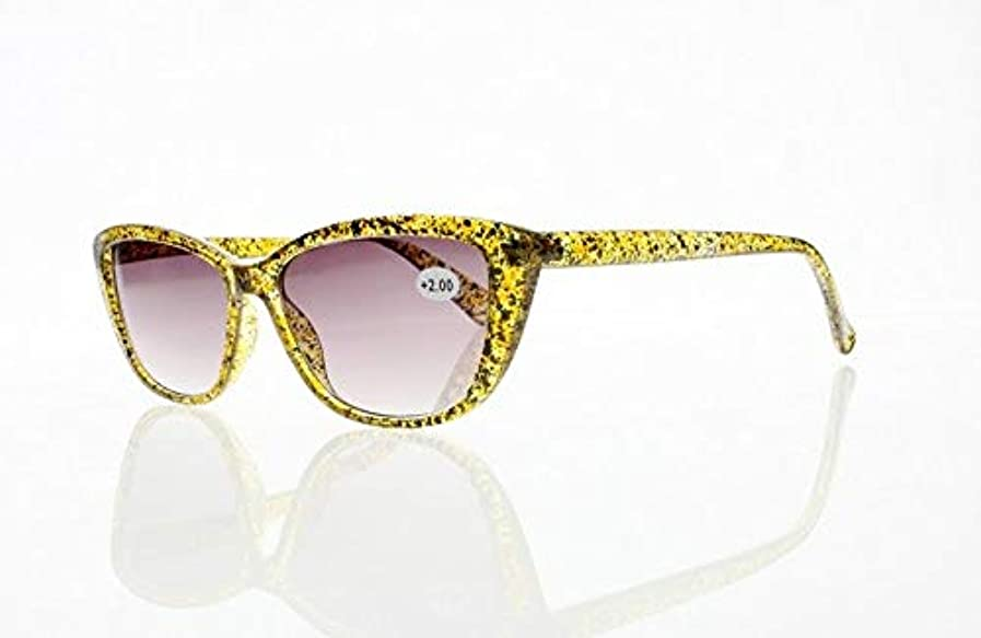 取る置換能力FidgetGear 女性レトロキャットアイレトロ反射防止老眼鏡リーダー+1.00?+4.00 黄色いフレームと灰色のレン