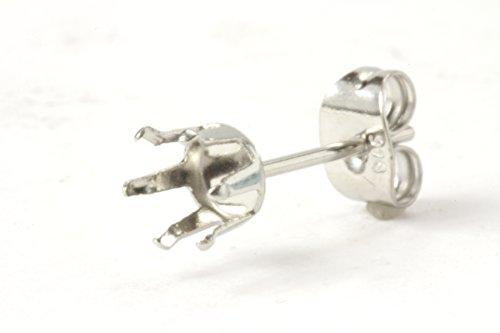 [해외](업 페르 ®) 사지 카루 서 손톱 6mm 귀걸이 실버 캐치있는 받침대 부품/(Upfel ®) Surgical stainless steel stand nail 6 mm earrings pedestal with silver catch pedestal parts