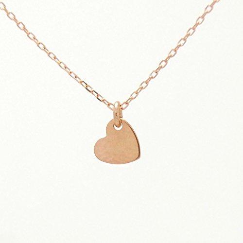 Pink Heart P 18金製 K18PG Pinkgold ピンクゴールド (日本製 Made in Japan) (金属アレルギー対応) ハート プレート プチ ペンダント ネックレス チェーン ジュエリー (Amazon.co.jp 限定) [HJ] (45 センチメートル)
