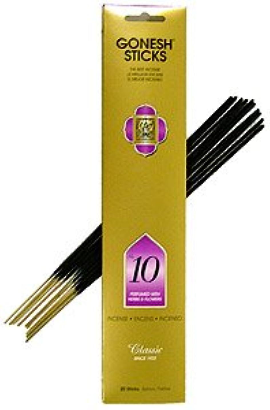 薄いです貫通哀Gonesh ~ Incense Sticks ~ Pack of 4 ~ No。10 ( Perfumed With Herbs &花)