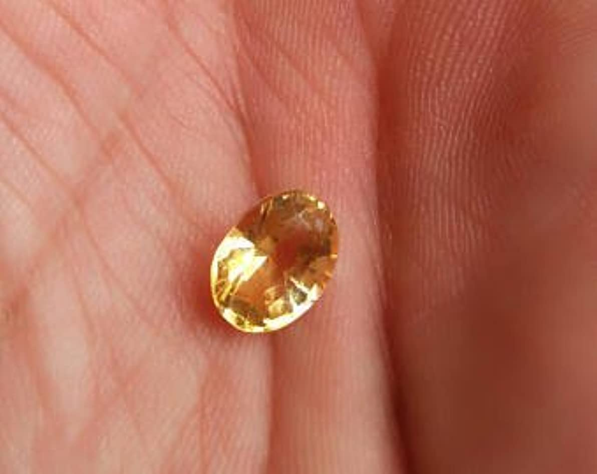 伸ばす批判的ダンスシトリン原石天然認定オーバルカットルースストーン9.3カラットby gemselect