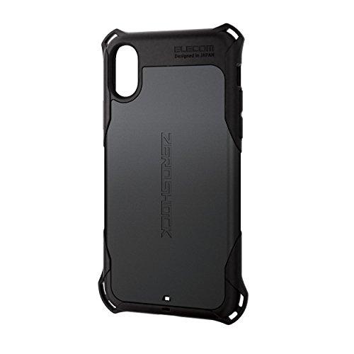 エレコム iPhone X ケース カバー 衝撃吸収 【 落下時の衝撃から本体を守る 】 ZEROSHOCK スタンダード 衝撃吸収フィルム付 ブラック PM-A17XZEROBK