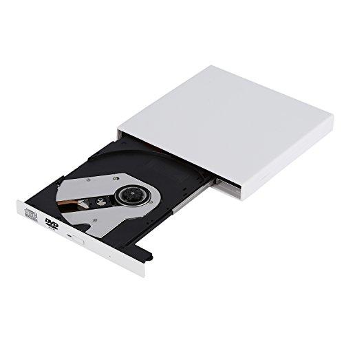 Dpower ポータブルドライブ USB2.0 DVD外付けプレイヤー DVDドライブ ウルトラスリムタイプ 超薄型 ホワイト