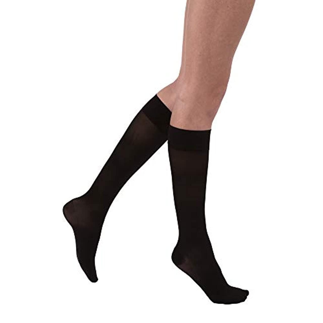 白い革新水星Jobst 119627 Ultrasheer Knee Highs PETITE 30-40 mmHg - 15 in. or less - Size & Color- Classic Black X-Large