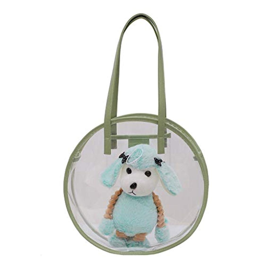 素子王室作り上げるかわいいファッション 犬の特徴 透明防水 ビーチバッグ ポータブル 透明化粧品バッグ 旅行用メイクポーチ ジッパー 防水 トートバッグ 取り外し可能 調整 33X9X33cm 3色