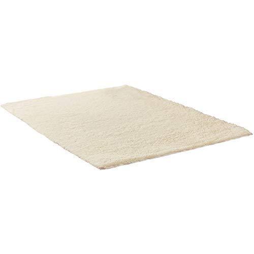 RoomClip商品情報 - 長方形 四角 シャギー ラグ エクセレント ムーティー マット ラグ マイクロファイバー 滑り止め付き 丸洗い 折り畳み 可能 ホットカーペットカバー 床暖房 対応 やわらか 絨毯 防音 低反発 高反発 (140*200, 白)