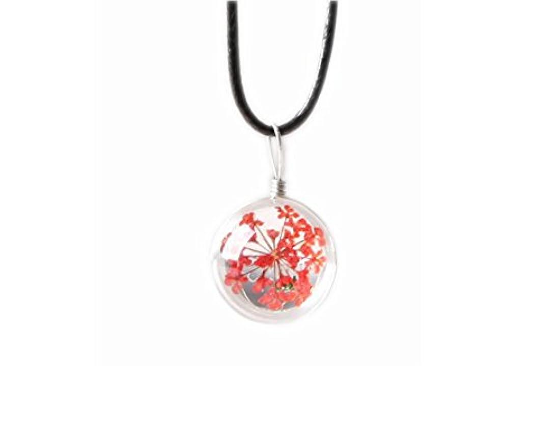 辛なガス結び目4本のペンダントネックレスギフトのセットGypsophila Dried Flowers Necklace - Red
