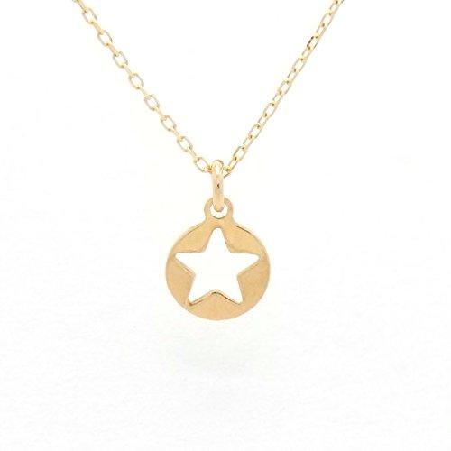 Gold Star 18金製 K18 gold ゴールド (日本製 Made in Japan) (金属アレルギー対応) スター 星 ペンダント ネックレス ジュエリー (Amazon.co.jp 限定) [HJ] (40 センチメートル)