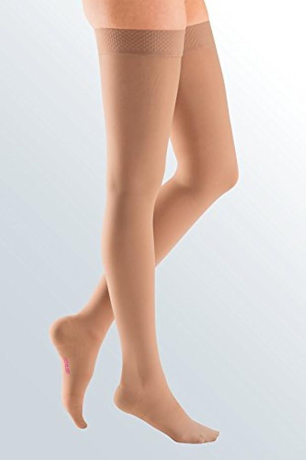 良心的泳ぐ性交Medi Plus Compression Thigh High With Silicone Band 30-40mmHg Petite Closed Toe, V, Beige by Medi