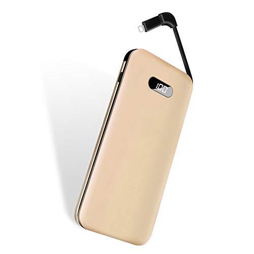 モバイルバッテリー elzle ケーブル内蔵 10000mAh 大容量 軽量 IOS/Micro USBコネクタ付 超薄型 小型 急速充電 持ち運び コンパクト スマホ 充電器 IOS & Android対応(ゴールド)