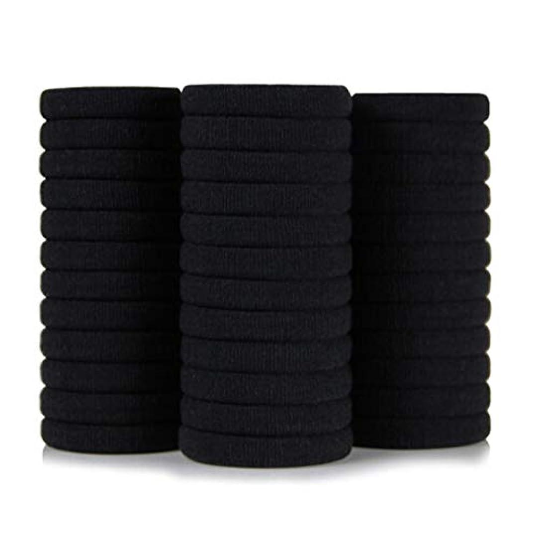 支配的マナー許す黒高弾性シームレスナイロンヘアリングヘアロープ36ロードラバーバンド、ヘッドロープ、帽子ネクタイヘアポニーテール (Color : Black, Size : 3.4*4cm)