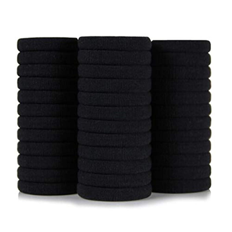 領事館人種引き出す黒高弾性シームレスナイロンヘアリングヘアロープ36ロードラバーバンド、ヘッドロープ、帽子ネクタイヘアポニーテール (Color : Black, Size : 3.4*4cm)