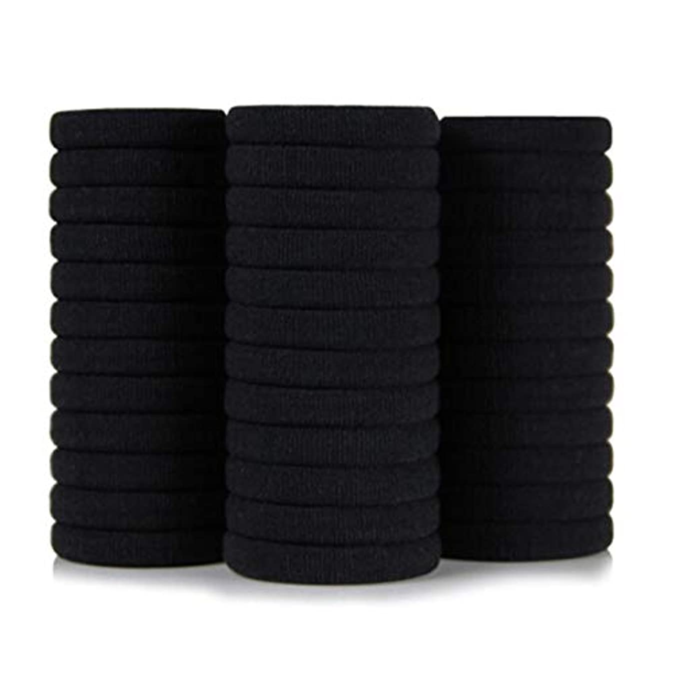 炭素レビュアー発音黒高弾性シームレスナイロンヘアリングヘアロープ36ロードラバーバンド、ヘッドロープ、帽子ネクタイヘアポニーテール (Color : Black, Size : 3.4*4cm)