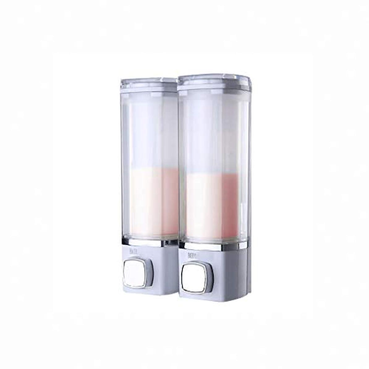 先例パウダー少数せっけん ソープディスペンサー無料パンチホテルホテルホームの壁には、マニュアルソープディスペンサー浴室のシャンプーシャワージェルボックスハンドサニタイザーは、ダブルヘッド空き瓶ボトルハンギング 新しい