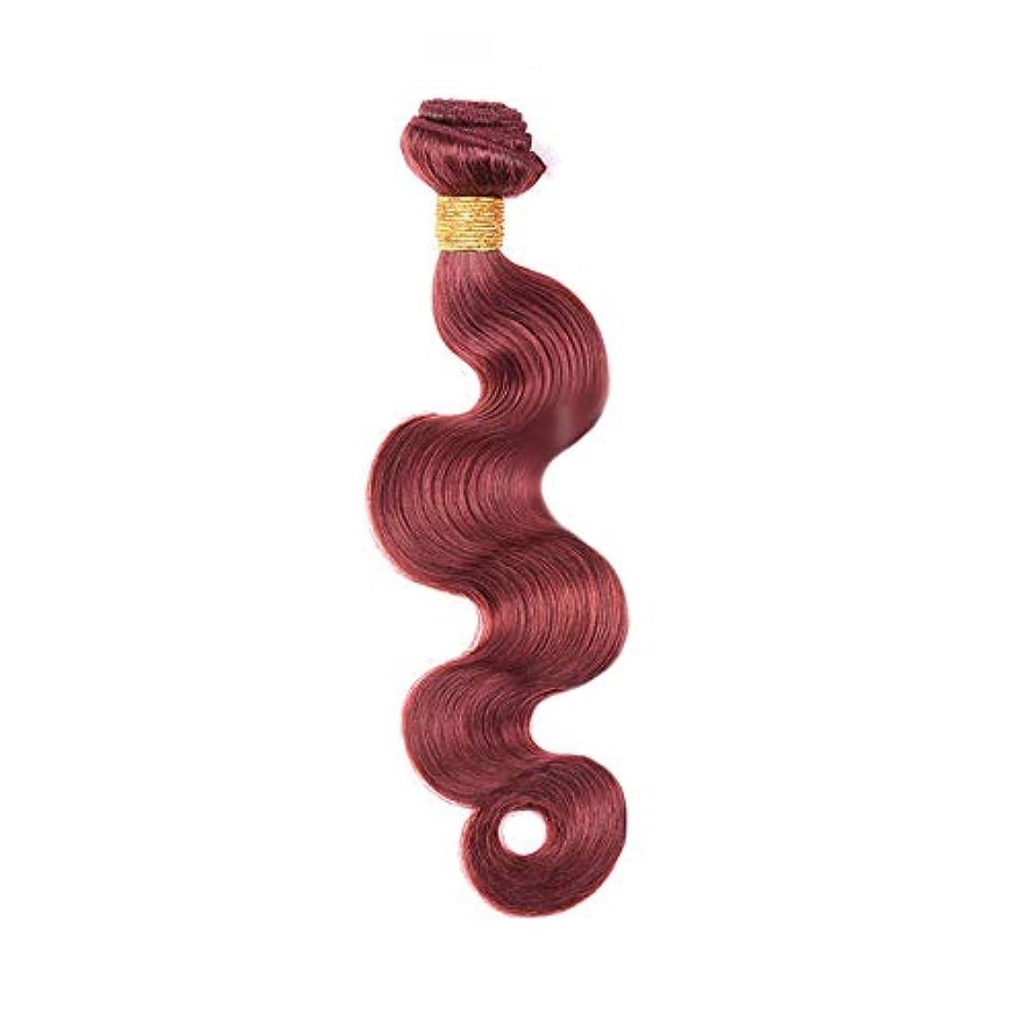 上げる拡張最大HOHYLLYA 実体波ヘアエクステンションブラジルの人間の髪の毛100g / 1バンドル髪の織り方よこ糸 - 33#ブラウンレッド色(10