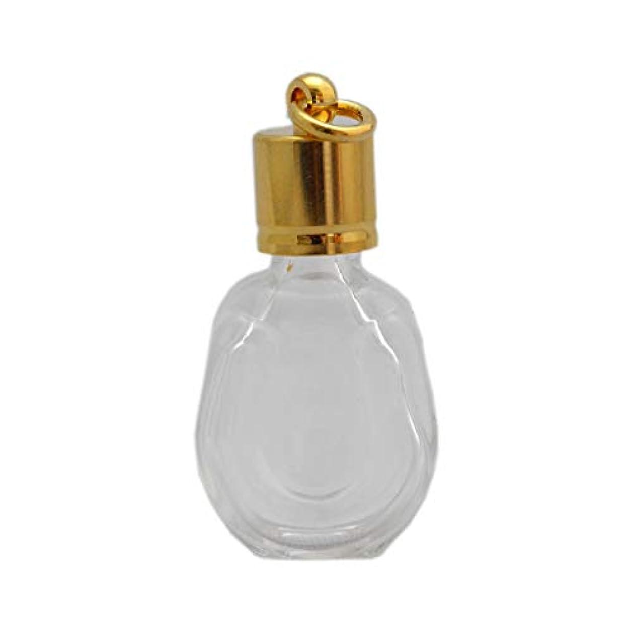 シンジケート扇動する段落ミニ香水瓶 アロマペンダントトップ 馬蹄型(透明 容量1.3ml)×穴あきキャップ ゴールド