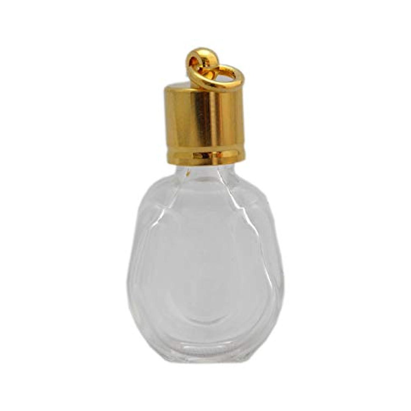 ミニ香水瓶 アロマペンダントトップ 馬蹄型(透明 容量1.3ml)×穴あきキャップ ゴールド