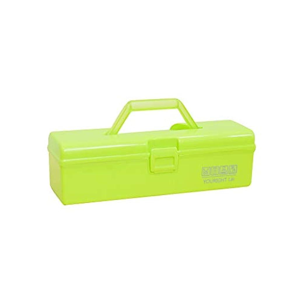 一般的な同級生オーディションプラスチック薬箱多機能医療ボックスハンドル収納ボックスツールボックス化粧品ケース30×9×9 cm AMINIY (Color : Green)