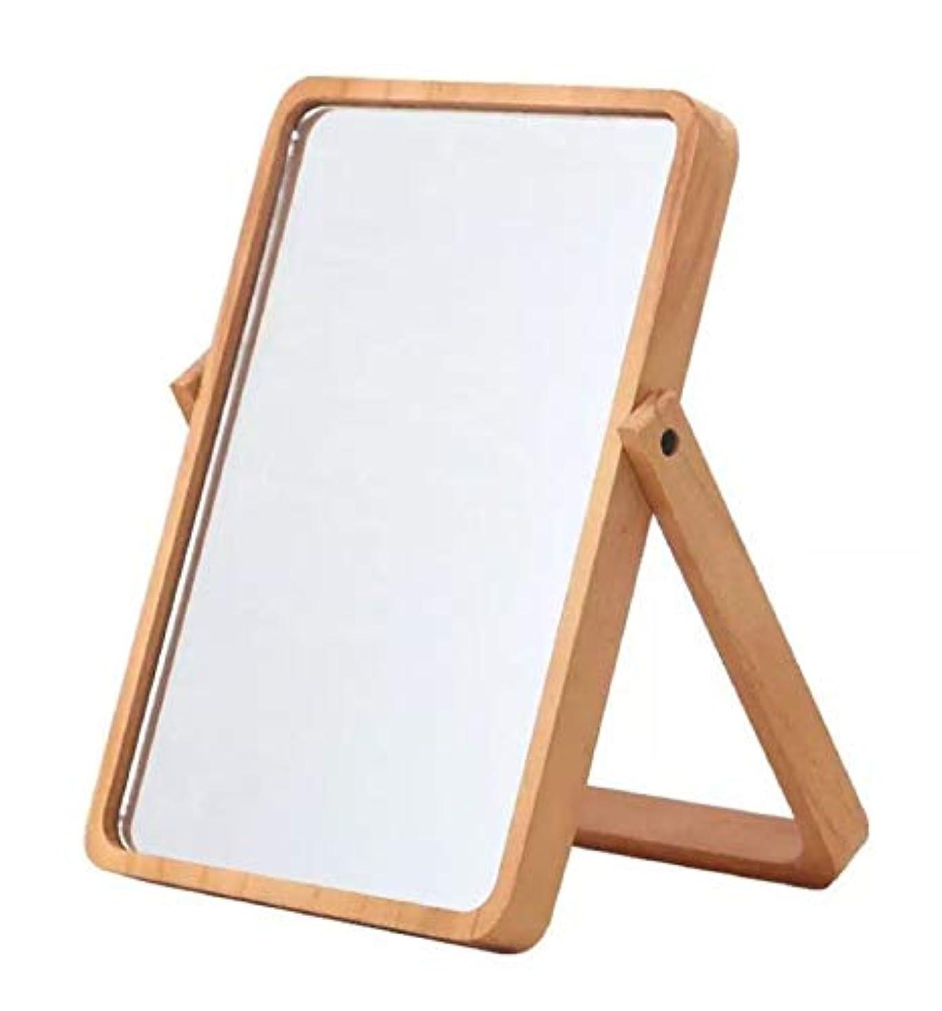 近々いちゃつくクレーン卓上鏡 木枠 鏡 壁掛け 卓上 ミラー 木製フレーム 卓上ミラー 木 スタンド式 26.5×20×2㎝