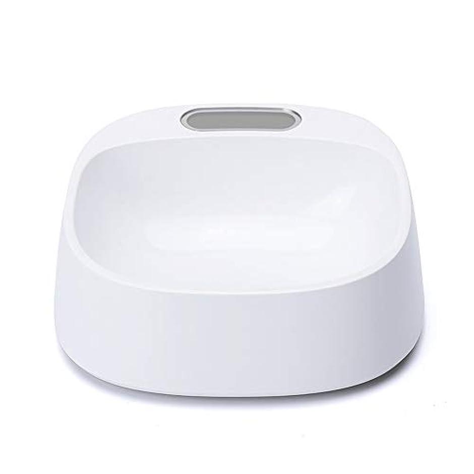 WBTD―Dog Bowl ペットフードボウルスローフィーダボウルペットボトル用抗菌素材5度傾斜電子計量科学的給餌白 18 * 18 * 6 cm