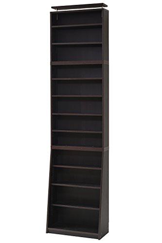 JKプラン 1cmピッチ 薄型 大容量 文庫本ラック 幅60 上置きセット 書棚 壁面収納 つっぱり 木製 本収納 漫画 CD DVD YHK-0214SET-DB