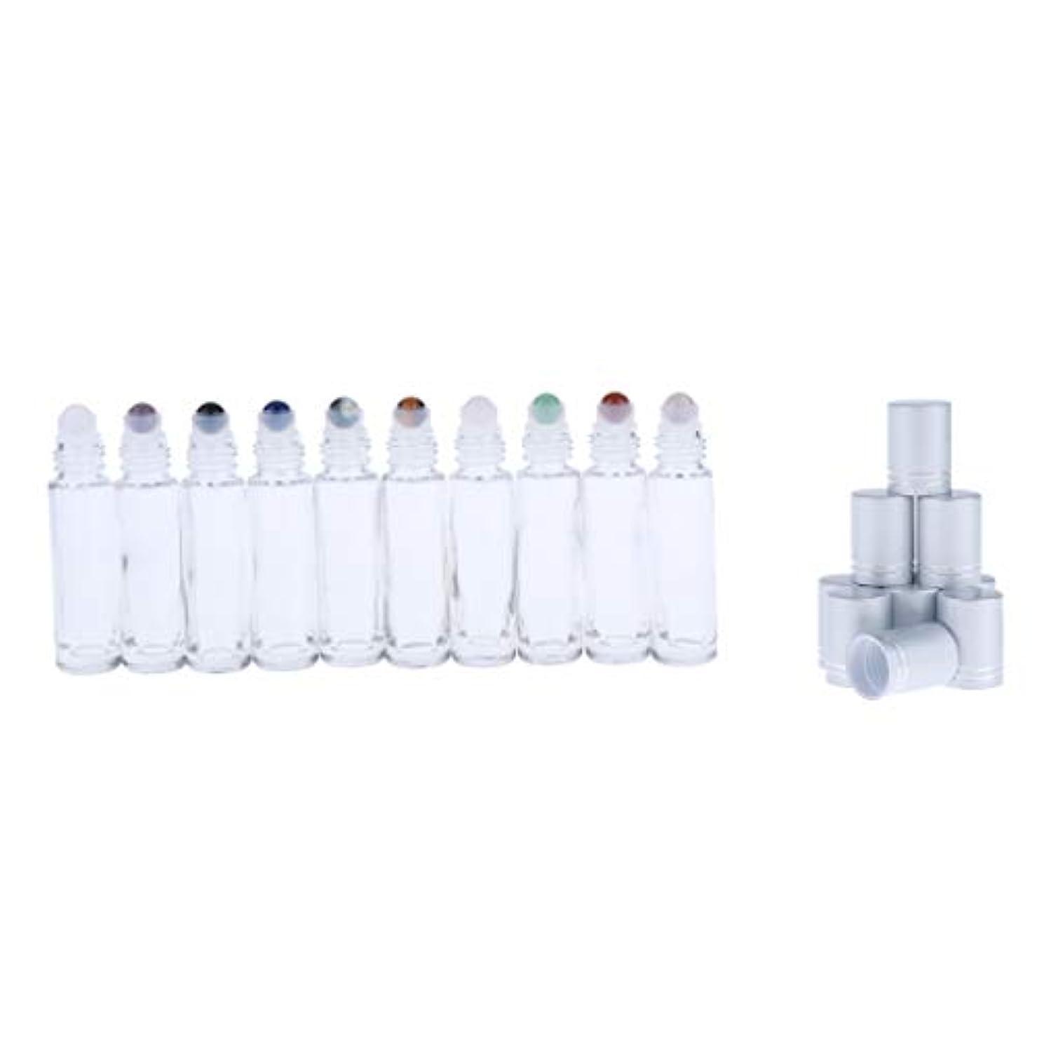 寝る懲戒母音10ml ロールオンボトル ガラス容器 透明 香水 アロマ 精油 小分け用 見分け携帯便利 10個入