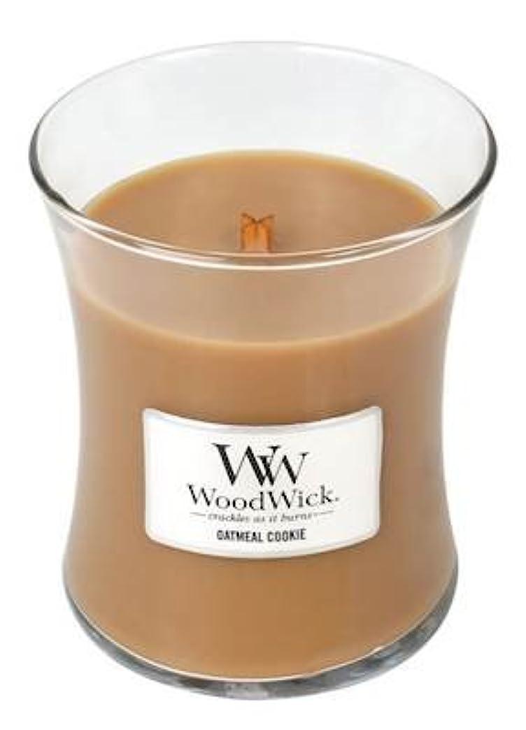 り期待して飛行機Woodwick Oatmeal Cookie Medium Scented Jar Candle