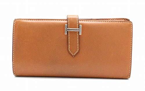 [エルメス] HERMES ベアン エプソン 2つ折 長財布 ゴールド シルバー金具 #□M刻印
