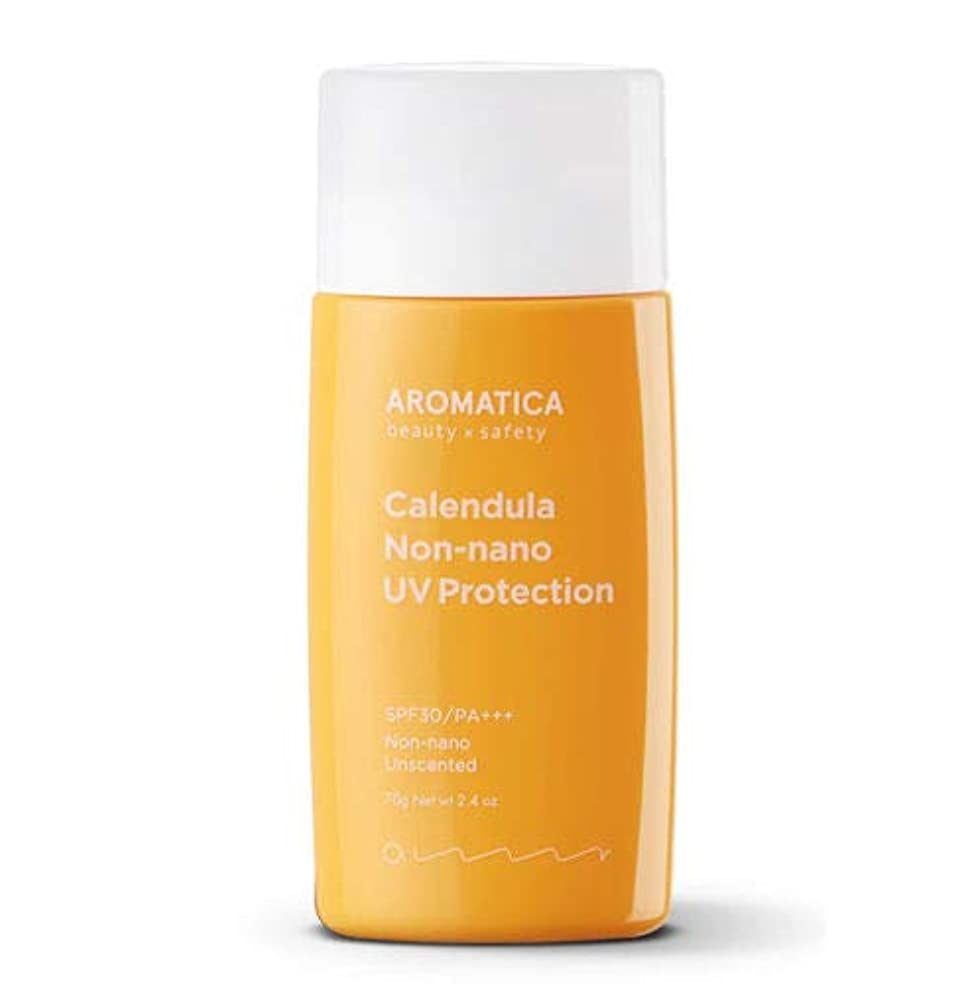 区別する体系的に背景AROMATICA アロマティカ Calendula NON-NANO UV Protection Unscented サンクリーム 70g SPF30/PA+++ 米国 日焼け止め