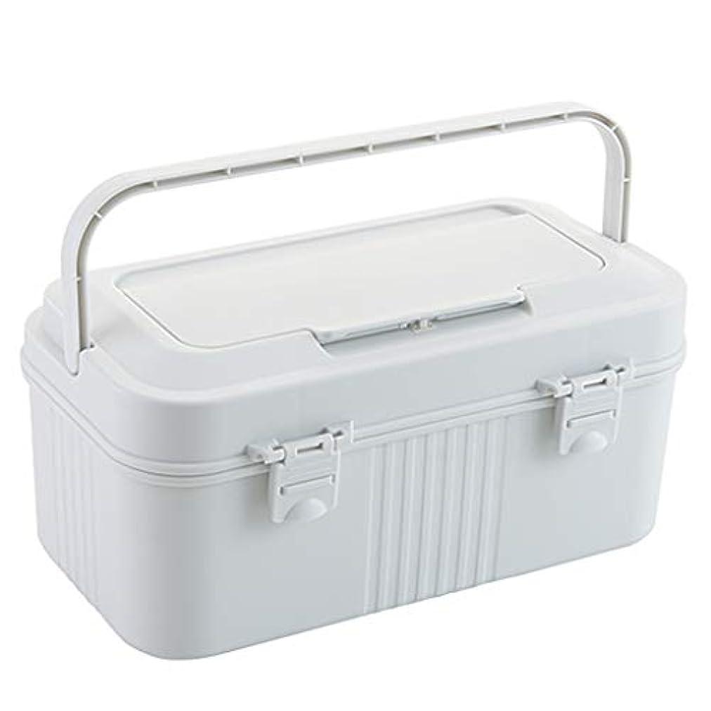 制約失礼マーティンルーサーキングジュニア医療用キット大型ポータブルプラスチック製薬収納ボックスダブルバックルデザイン安全かつ確実なグレー、ホワイト SYFO (Color : White)