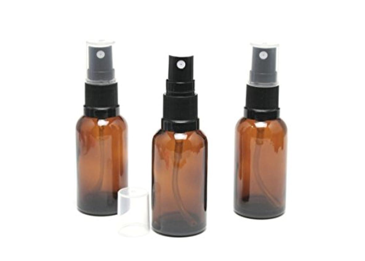 駐地メンテナンス一般的な遮光瓶 スプレーボトル (グラス/アトマイザー) 30ml アンバー/ブラックヘッド 3本セット 【 新品アウトレット商品 】