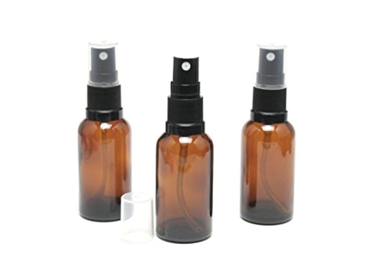 住む所得インド遮光瓶 スプレーボトル (グラス/アトマイザー) 30ml アンバー/ブラックヘッド 3本セット 【 新品アウトレット商品 】