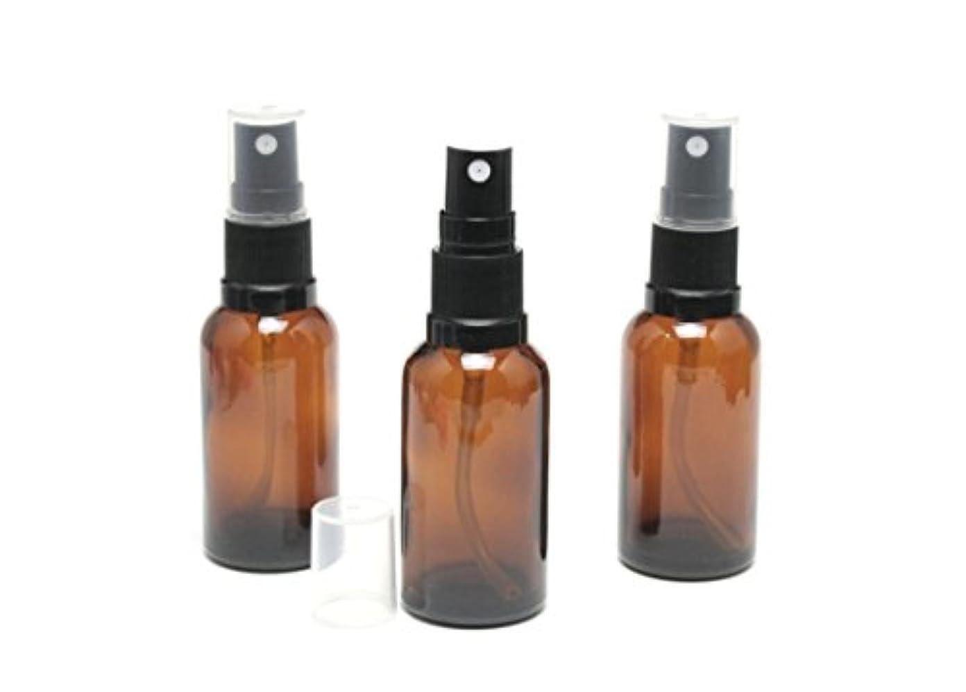 寄り添うスキニー六遮光瓶 スプレーボトル (グラス/アトマイザー) 30ml アンバー/ブラックヘッド 3本セット 【 新品アウトレット商品 】