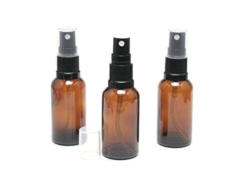 オークスポンジ香水遮光瓶 スプレーボトル (グラス/アトマイザー) 30ml アンバー/ブラックヘッド 3本セット 【 新品アウトレット商品 】