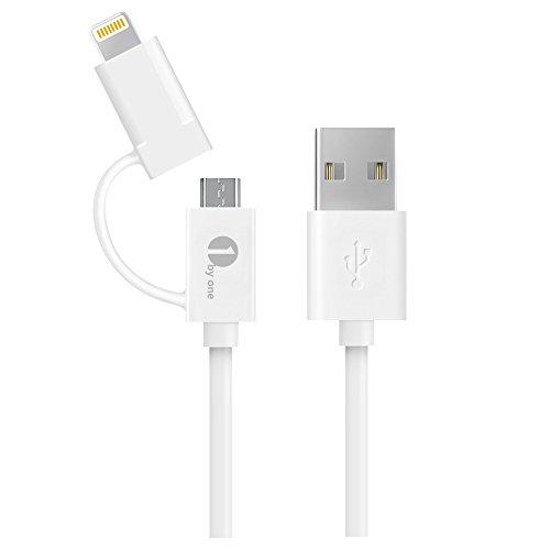 1byone Apple認証 (Made for iPhone取得)2イン1 ios/Android両用(1M)ライトニング マイクロUSB兼用ケーブル8ピンコネクタ+マイクロUSB充電 データ転送ケーブル、 ホワイト