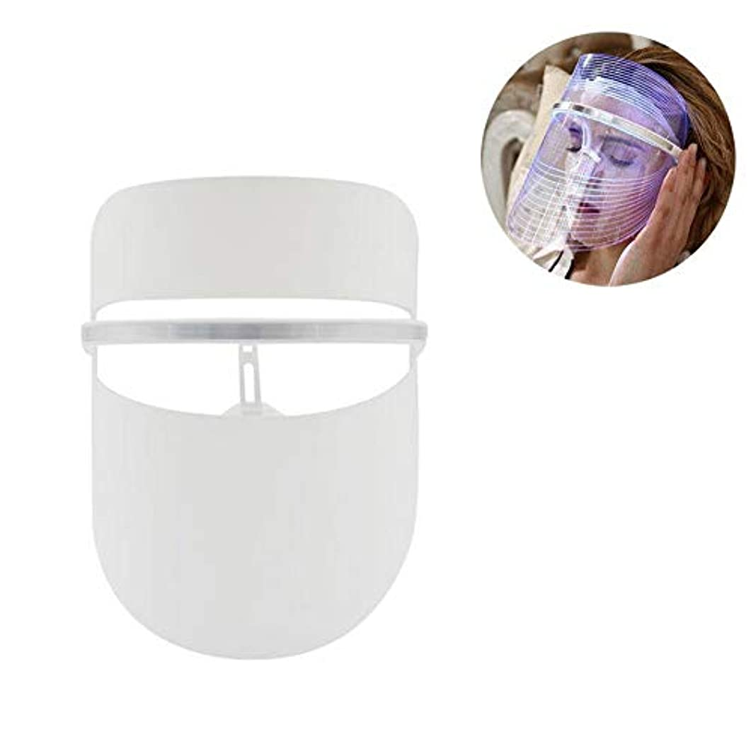 回転するを通して抑圧者3色LEDライトフェイスマスクしわ除去フェイシャルライトセラピーアンチエイジングシワフェイシャルスキンケアマスク