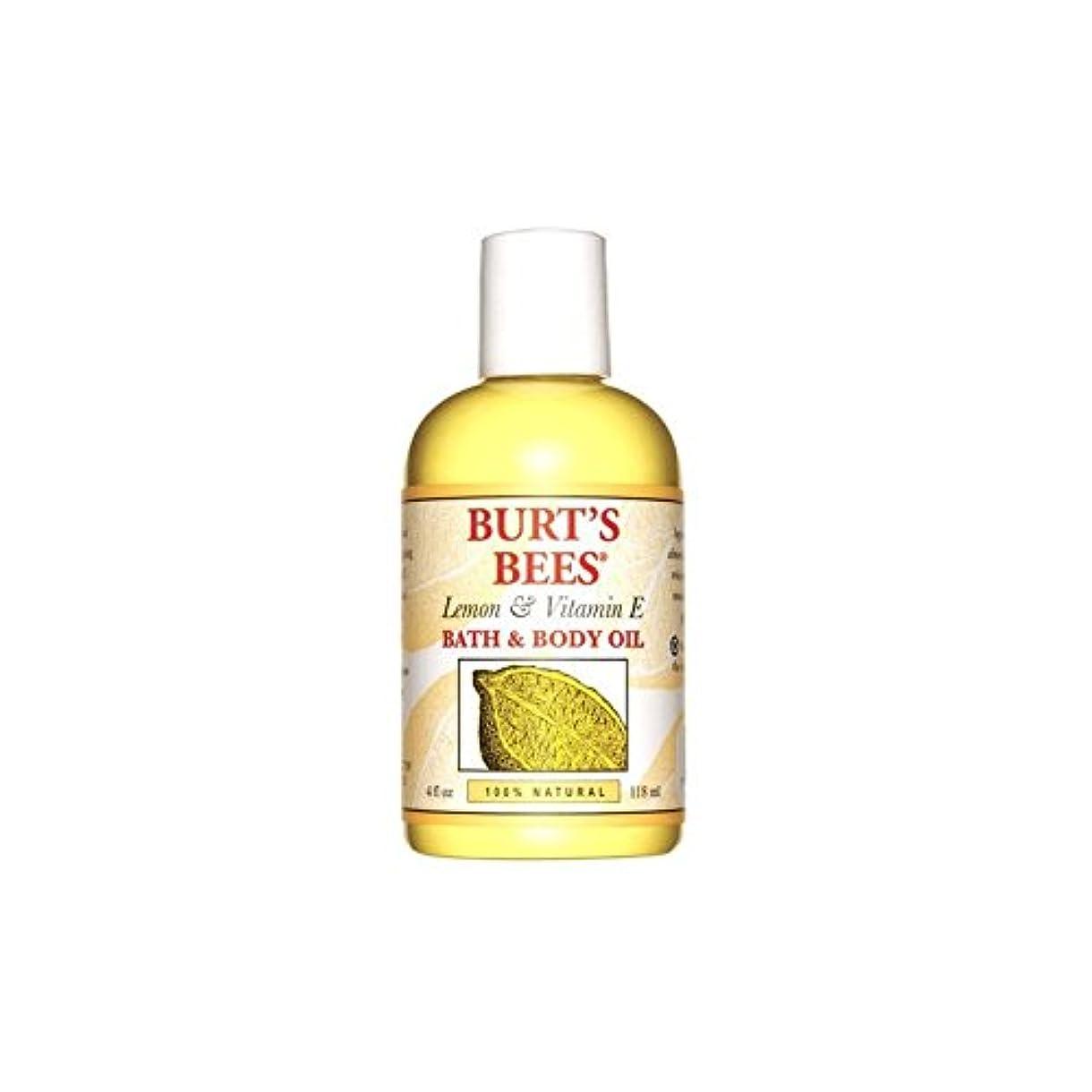 シート流ロデオBurt's Bees Lemon & Vitamin E Bath & Body Oil (4 fl oz / 118ml) (Pack of 6) - バーツビーレモン&ビタミンバス&ボディオイル(4オンス/ 118...